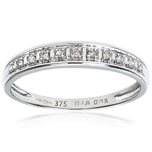 Naava- Bague Femme - Or Blanc 375/1000 (9 Cts) 1 Gr - Diamant 0.005 Cts - T 53