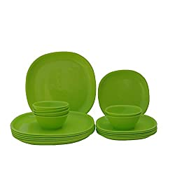 Incrizma Plastic Square Plate and Bowl Set, 18-Pieces, Lime Green