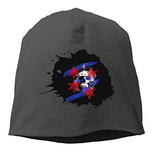 Chicago Skull Flag Unisex Knit Hat Soft Stretch Beanies Skull Cap Hedging Cap Black