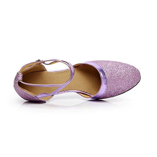 XPY&DGX Viola indoor danza moderna balli da sala da ballo scarpe fondo morbido tacco alto latino scarpe da ballo donna adulto usura, 1 225MM