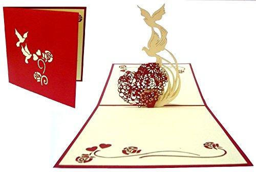 'Pop Up Karte 3D mit Spruch Liebe 3D in Herzform mit den Tauben Große Größe 15x 15cm