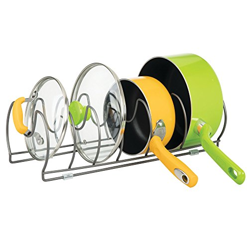 mDesign Pots and Pan Rack – Metal Wire Rack for Cookware Storage – Freestanding Pan Stand for Pans, Pots, Lids and Crockery – Graphite