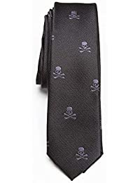 Schwarze Krawatte mit rotem Totenkopf