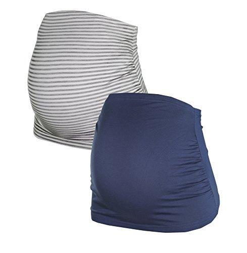 Bauchband für Schwangere im Doppelpack-Set, Umstands-Schwangerschafts-Bauchbänder aus Baumwoll-Mix, in Schwarz, Grau, Blau, Grau-gestreift, HERZMUTTER (6000) Test
