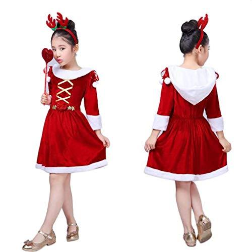 Riou Kinder Langarm Weihnachten Halloween Kostüm Top Set Baby Kleidung Set Kinder Baby Mädchen Halloween Kostüm Kleid Party Mantel + Hut Outfit + Kürbis Tasche (120, Rot)