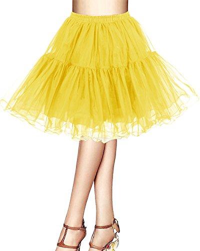 Bridesmay Kurz Retro Petticoat Rock 1950er Vintage Tutu Ballett Unterkleid Gelb L
