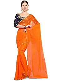 Saree Mall Chiffon Saree With Blouse Piece (_Orange_Free Size)