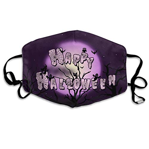 (Moiq-A Happy Halloween Pattern Mouth Masks Unisex Anti-Dust Flu Washable Reusable Mouth Mask Fashion Design for Girls Women Boys Men)
