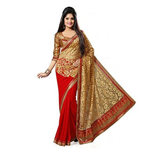 Zofey Fashion Women\'s Brasso Saree(Brasso_Red)