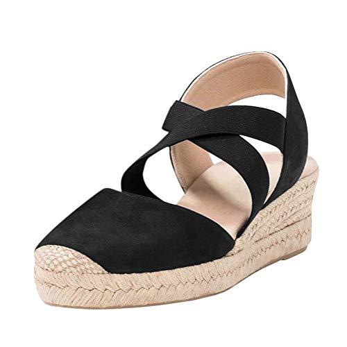 Tomwell Damen Sommer Sandalen Espadrilles Wedge Mode Plateauschuhe Lace Up Platform Mode Casual Römersandalen B Schwarz 41 EU Gold Platform Wedge Schuhe