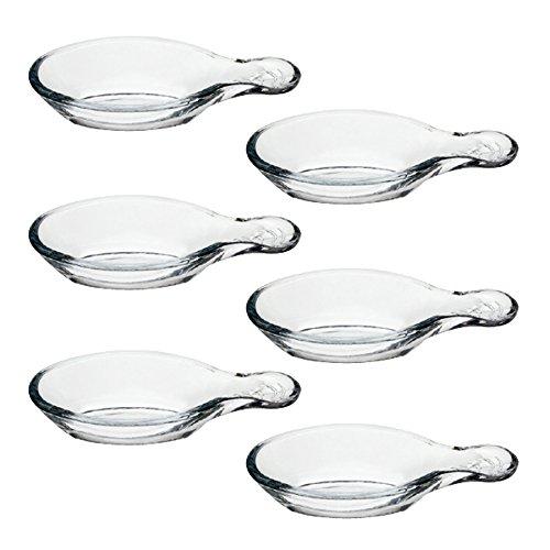 Pasabahce 53749 Gastroboutique - 6er Set Mini-Schälchen aus Glas in Blattform, 12 cm, Glas-Schälchen, Dipschale, Dessertschale, Mezeschale, Tapasschale, 6 Stück, stapelbar -