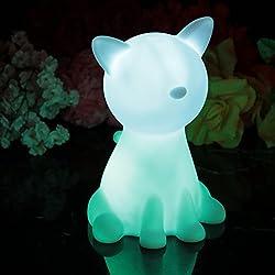 20cm Lampada da Comodino Bambini senza Fili - Gatto LED a Batteria, Luce Notturna da Tavolo Multicolore RGB di PK Green