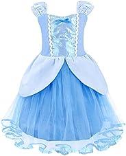 Jurebecia Cenicienta Vestido de Fiesta para Niñas Dress Largo de Gasa con Encaje de Princesa Halloween Fiesta