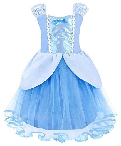 Amzbarley principessa cinderella vestire costume per bambini ragazze halloween cosplay festa 1-2 anni