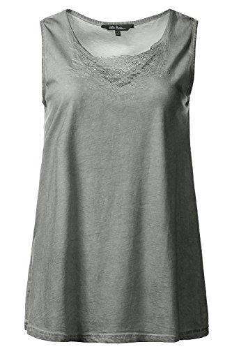 Ulla Popken Damen große Größen | Top | Cold dyed | Netz-Stickerei | Basic | bis Größe 62+ | 712246 helles schattengrün