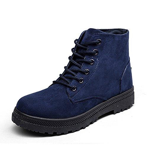 Winter Martin Boots, Gracosy Damen Herren Worker Veloursleder Schnür Stiefeletten, Unisex Herbst Winter Outdoor Winterstiefel Martin Stiefel Blau 38