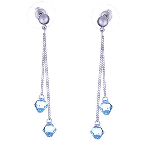 """Boucles d'oreilles """"Galaxy Jewellery"""" avec cristaux Swarovski Aquamarine - cadeau idéal pour les femmes et les filles - Livré dans une boîte cadeau"""