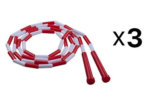 Champion Classic 7' Segmented Beaded Plastic Jump Skip Rope, Red/White (3-Pack) (Champion Sport Seil)