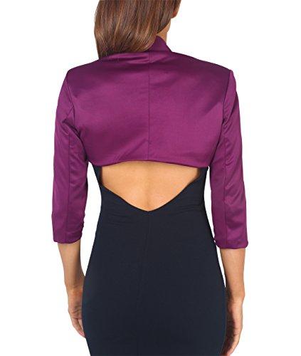 KRISP® Femmes Boléros Vestes Tailleurs Top Manches 3/4 Noeud Soirée Cérémonie Violet