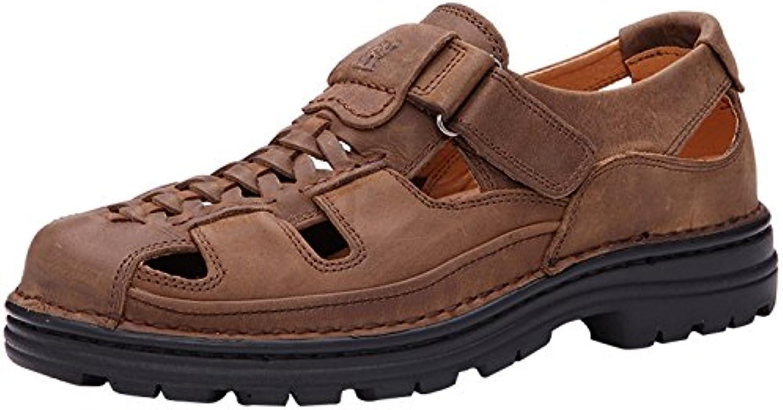 Dayissreg Herren Jungen Leder Sandalen Sport   Outdoor Schuhe Sandaletten