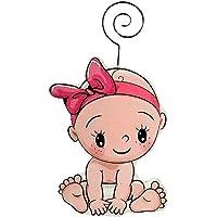 DISOK - Pinza Portafotos Madera Baby ROSA. Clips de notas bautizo niña. Pinzas Portafotos