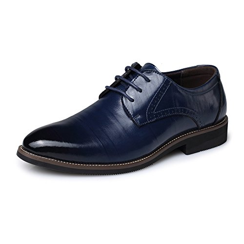 Schuhe Schnürschuh Slouch Vamp Loafers Gefüttert Smoking Brogue Oxfords Schwarz Heel Fashion Slipper (Color : Blau, Größe : 8MUS) ()