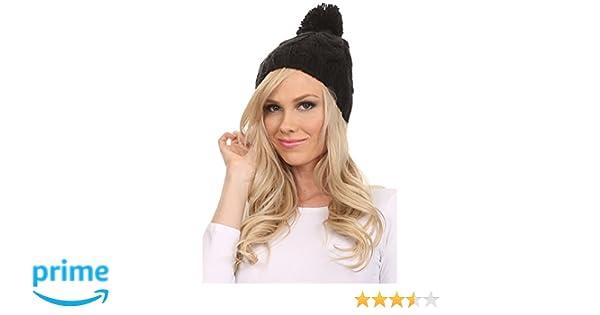701f55047a6 Sakkas CHSS1544 - Tabb Unisex Cable Knit Pom Pom Bobble Beanie Hat - Black  - OS  Amazon.co.uk  Clothing