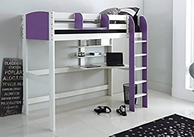 Scallywag Kids High Sleeper Bed - White/Lilac - Straight Ladder - Integral Desk & Shelves. Made In The UK.
