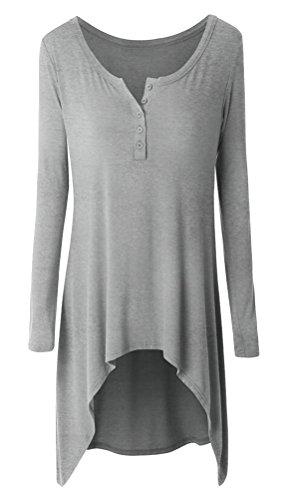 SMITHROAD Damen Langarmshirt Rundhalsausschnitt mit Knöpfen Asymmetrisch Vokuhila Stretch Tunika Unifarben 12 Farben Grau