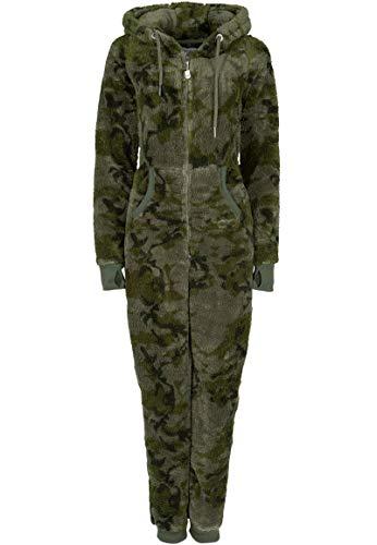 Eight2Nine Damen Jumpsuit aus kuscheligem Teddy Fleece | Overall | Ganzkörperanzug mit Ohren Dark-Green S/M -