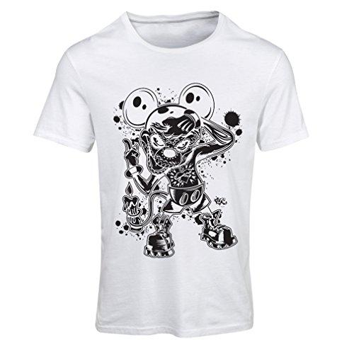 lepni.me Frauen T-Shirt Eine Maus mit Einem tollen Halloween-Party-Kostüm (Small Weiß Mehrfarben)