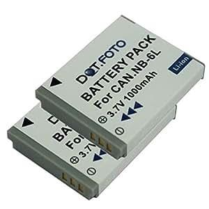 2 x Dot.Foto remplacement Canon NB-6L, NB-6LH batterie - 3,7v / 1000mAh - garantie de 2 ans [modèles indiqués ci-dessous]