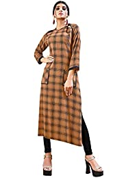 Rose Petals Fully Stitched Indo Western Reyon Check Kurti in Different Designer Cuts and Style with unique neck detailing (CHEp5008), check dress for women western, checks kurtis for women latest
