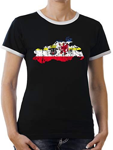 Touchlines Merchandise Mecklenburg Vorpommern Bundesland Kontrast T-Shirt Damen XL Schwarz
