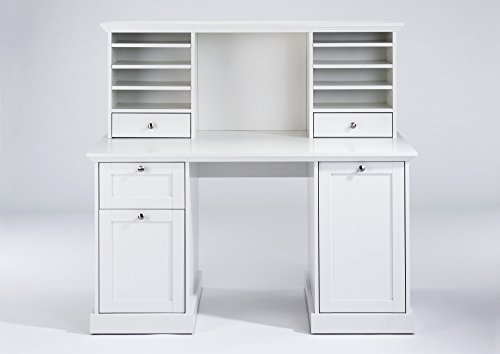 CAVADORE Aufsatz für Schreibtisch GREENFORD / Schreibtischregal mit 2 Schubladen und viel Stauraum / kombinierbar mit Schreibtisch / weiß / 136 x 52 x 28 cm (B x T x H)