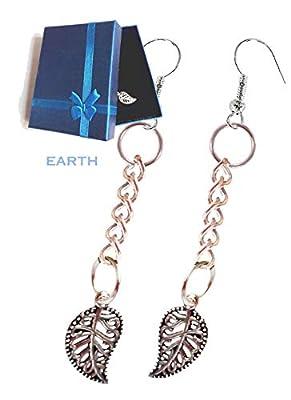 """Boucles d'oreilles""""Earth"""" pendantes - chaine pendentif feuille argent indien - Crochet Acier Nickel Free anti-allergies Beauté Accessoires Mode paquet cadeau Idée Cadeau"""