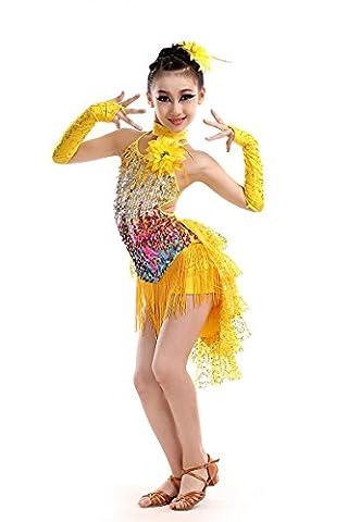 Enfant Danse latine Costumes fille Sequins gland robe bleu noir rouge , yellow , 150cm