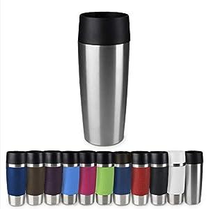 Emsa 513351 Travel Mug Thermo-/Isolierbecher, Fassungsvermögen: 360 ml, hält 4h heiß/ 8h kalt, 100% dicht, auslaufsicher, Easy Quick-Press-Verschluss, 360°-Trinköffnung, edelstahl