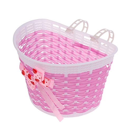 MagiDeal Basket Holder for Storage Stuff Bike Accessory Children Girls Detachable Durable - Pink