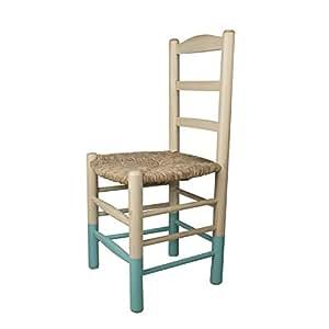 Luxor - Chaise en bois de peuplier avec assise en paille, 45 x 41 x 45/H90 cm