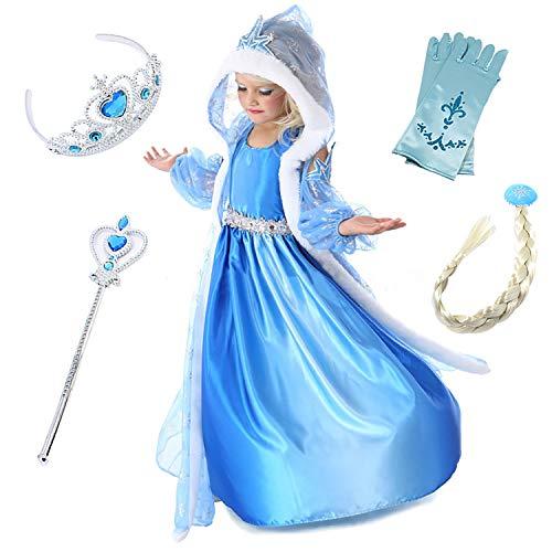 FStory&Winyee Mädchen Kostüm Eiskönigin ELSA Kleid mit Umhang Cosplay Kostüme Kinder Prinzessin Kleid Blau Karneval Verkleidung Party Weihnachten Halloween (Kostüm Mit Einem Blauen Kleid)