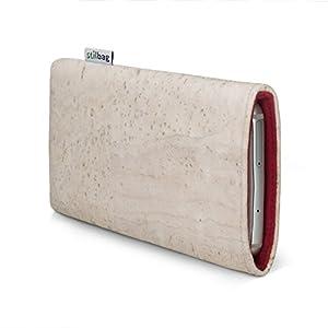 Stilbag maßgeschneiderte Korkhülle VIGO   Farbe: weiss-rot   Smartphone-Tasche aus Kork   Handy Schutzhülle   Handytasche Made in Germany