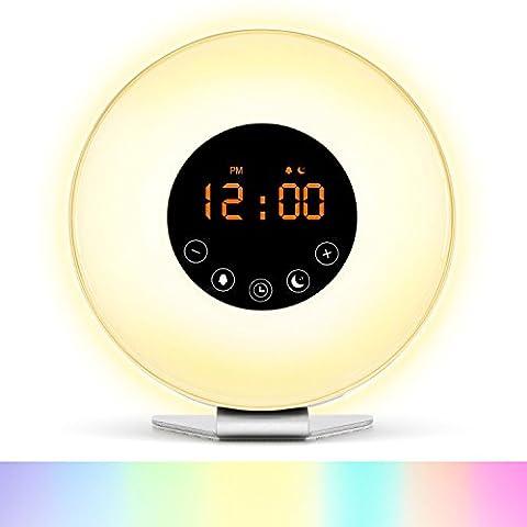 SEGURO Wake Up Licht Wecker mit Sonnenaufgang Simulation Dämmerung Fading 6 Natürliche Sounds 7 Farben Atmosphere Lampe 10-Helligkeit Nachttischlampe FM Radio Snooze Function und USB Ladegerät
