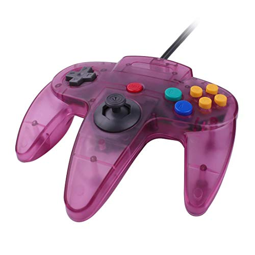 NOKKOO 3RD Party Made Classic Wired N64 64-Bit Gamepad Joystick Ultra 64 Video Game Console Game Pad Game Controller Gamepad Joystick Ultra 64 Video Game Console N64 Konsole TransPurple