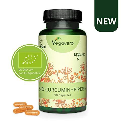 NUOVA: CURCUMA PIPERINA Vegavero | 100% BIOLOGICA | Antinfiammatorio | con 95% Curcumina e 95% Piperina | 90 capsule | Vegan