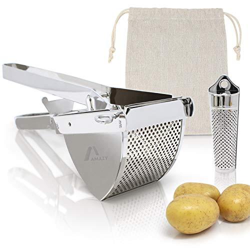 Amazy Kartoffelpresse inkl. Muskatreibe + Kartoffelsack - Spülmaschinenfeste Presse aus Edelstahl für die Zubereitung von Kartoffelpüree, Klößen, Gnocchi & Co.