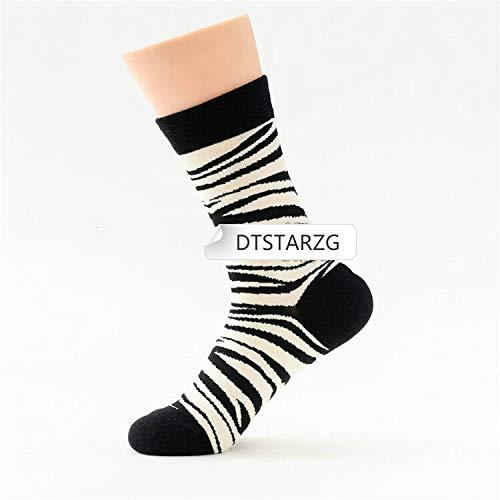 HNDDWZDB 1 Paar Trend Zebra Muster Bedruckte Socken Frauen Schwarz und Weiß Kawaii komfortable Baumwolle Happy Socks Harajuku Socken Frauen