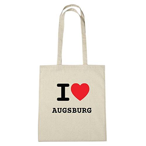 JOllify Augsburg di cotone felpato B950 schwarz: New York, London, Paris, Tokyo natur: I love - Ich liebe