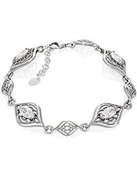 LillyMarie Damen Armband Sterlingsilber 925 Zirkonia Farblos Länge Flexibel  Hochwertige Geschenkbox aus Holz Danke Geschenke für 6f3249f72a