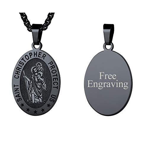 FaithHeart Unisex Halskette mit Anhänger Schutzpatron Christophuros Silber 925 Schwarz Kette 4 x 2,9cm Oval Personalisierte Geschenke Herren -